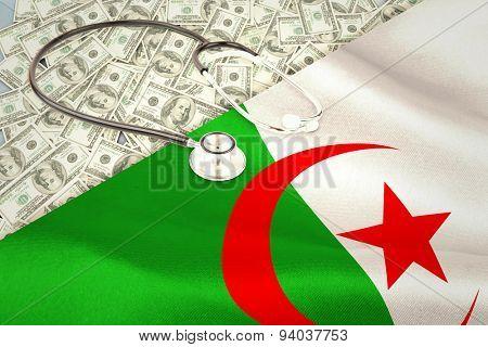 stethoscope against digitally generated algerian national flag