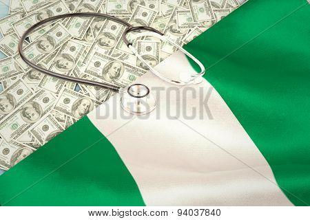 stethoscope against digitally generated nigerian national flag