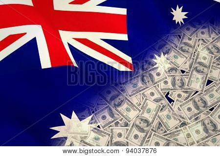 Pile of dollars against digitally generated australian national flag