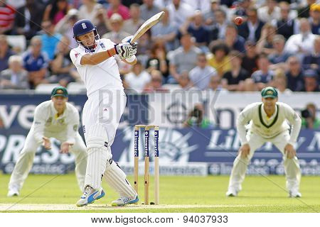 CHESTER LE STREET, ENGLAND - August 09 2013:  Joe Root batting during day one of the Investec Ashes 4th test match at The Emirates Riverside Stadium, on August 09, 2013 in London, England.