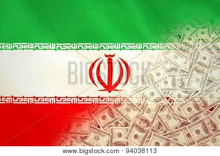 Pile of dollars against digitally generated iran national flag