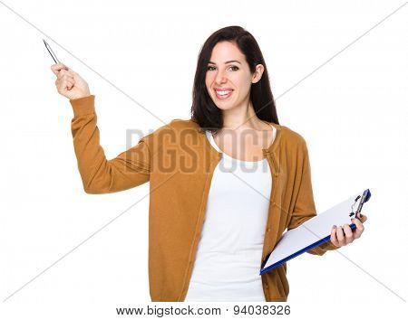 Young woman hold with clipboard and pen point up