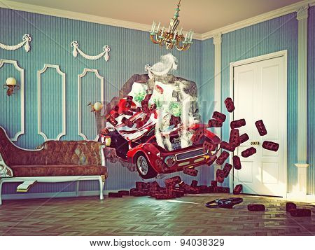 red car breaks the wall in luxurious interior. 3d creative concept