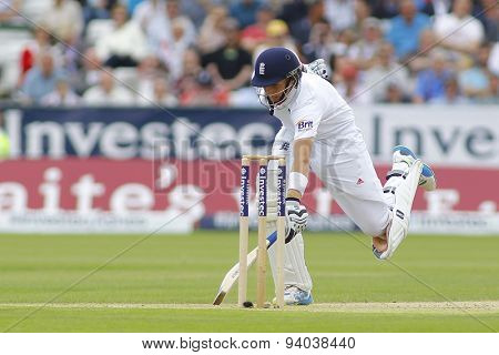 CHESTER LE STREET, ENGLAND - August 09 2013: Joe Root runs a single during day one of the Investec Ashes 4th test match at The Emirates Riverside Stadium, on August 09, 2013 in London, England.