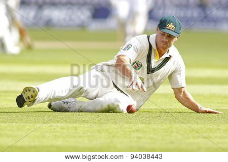 CHESTER LE STREET, ENGLAND - August 09 2013: David Warner fielding during day one of the Investec Ashes 4th test match at The Emirates Riverside Stadium, on August 09, 2013 in London, England.