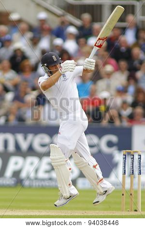 CHESTER LE STREET, ENGLAND - August 09 2013: Jonathan Trott plays a shot during day one of the Investec Ashes 4th test match at The Emirates Riverside Stadium, on August 09, 2013 in London, England.