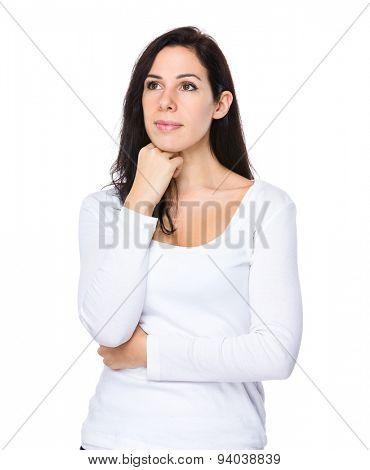 Beautiful woman think of idea