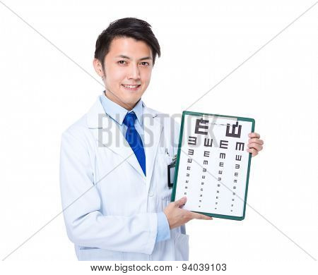 Optical Doctor hold with eye chart