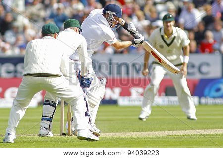 CHESTER LE STREET, ENGLAND - August 09 2013: Jonny Bairstow batting during day one of the Investec Ashes 4th test match at The Emirates Riverside Stadium, on August 09, 2013 in London, England.