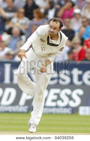 CHESTER LE STREET, ENGLAND - August 09 2013: Nathan Lyon bowling during day one of the Investec Ashes 4th test match at The Emirates Riverside Stadium, on August 09, 2013 in London, England.