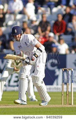 CHESTER LE STREET, ENGLAND - August 09 2013: Graeme Swann batting during day one of the Investec Ashes 4th test match at The Emirates Riverside Stadium, on August 09, 2013 in London, England.