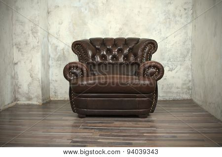 Old vintage brown leather chair
