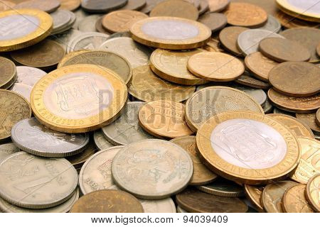 Background Of Russian Rubles Coins