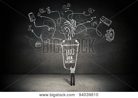 Businesswoman with hands on head against black wall