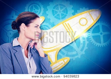 Businesswoman smiling on a white background against blue background