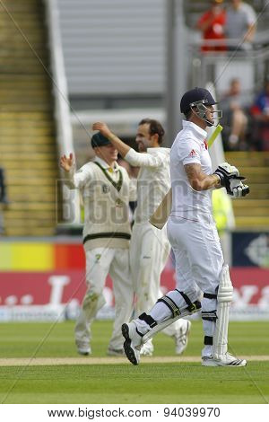 CHESTER LE STREET, ENGLAND - August 09 2013: Kevin Pietersen walks off after being dismissed during day one of the Investec Ashes 4th test match at The Emirates Riverside Stadium