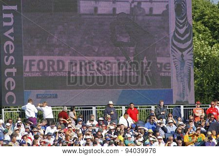 CHESTER LE STREET, ENGLAND - August 09 2013: Hot spot is projected on a giant screen during day one of the Investec Ashes 4th test match at The Emirates Riverside Stadium, on August 09