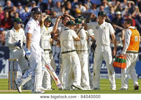 CHESTER LE STREET, ENGLAND - August 09 2013: Australia celebrate the wicket of Matt Prior during day one of the Investec Ashes 4th test match at The Emirates Riverside Stadium, on August 09