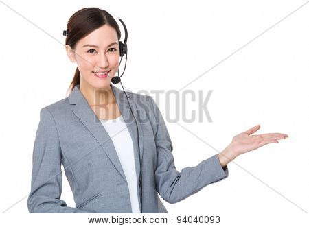 Customer services consultant with hand presentation