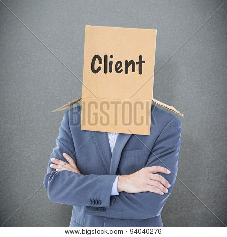 Anonymous businessman against grey background