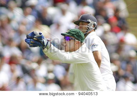 CHESTER LE STREET, ENGLAND - August 09 2013: Brad Haddin and Jonathan Trott during day one of the Investec Ashes 4th test match at The Emirates Riverside Stadium, on August 09, 2013