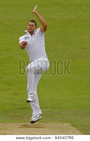 CHESTER LE STREET, ENGLAND - August 10 2013: Tim Bresnan bowling during day two of the Investec Ashes 4th test match at The Emirates Riverside Stadium, on August 10, 2013 in London, England.