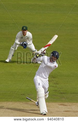 CHESTER LE STREET, ENGLAND - August 10 2013: James Anderson is bowled out by Jackson Bird during day two of the Investec Ashes 4th test match at The Emirates Riverside Stadium, on August 10, 2013