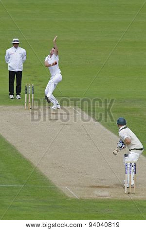 CHESTER LE STREET, ENGLAND - August 10 2013: Aleem Dar, James Anderson and Chris Rogers during day two of the Investec Ashes 4th test match at The Emirates Riverside Stadium, on August 10, 2013