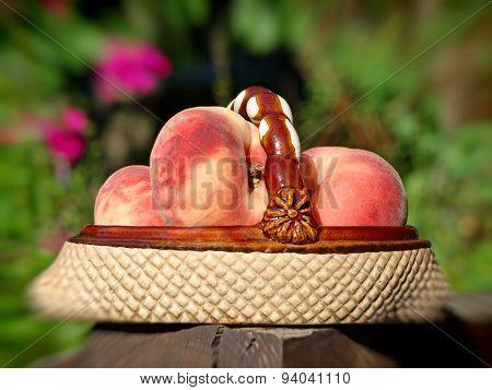 Ripe Peaches In Ceramic Vase.Soft bokeh.
