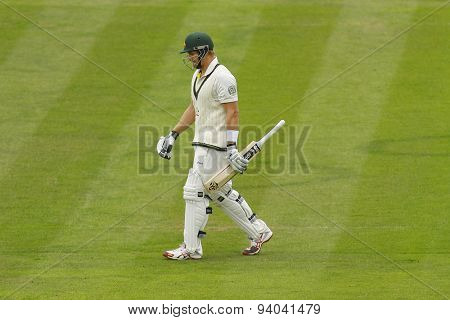 CHESTER LE STREET, ENGLAND - August 10 2013: Shane Watson walks off after being dismissed during day two of the Investec Ashes 4th test match at The Emirates Riverside Stadium, on August 10, 2013