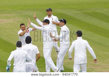CHESTER LE STREET, ENGLAND - August 10 2013: Tim Bresnan celebrates taking the wicket of Steven Smith during day two of the Investec Ashes 4th test match at The Emirates Riverside Stadium