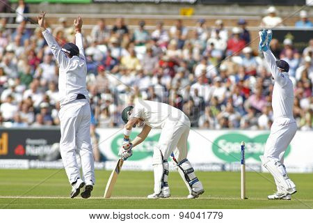 CHESTER LE STREET, ENGLAND - August 11 2013: Ian Bell and Matt Prior appeal for the wicket of Brad Haddin during day three of the Investec Ashes 4th test match at The Emirates Riverside Stadium