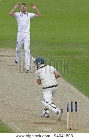 CHESTER LE STREET, ENGLAND - August 10 2013: James Anderson reacts as Chris Rogers misses a shot during day two of the Investec Ashes 4th test match at The Emirates Riverside Stadium