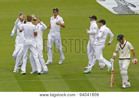 CHESTER LE STREET, ENGLAND - August 10 2013: England celebrate the wicket of David Warner during day two of the Investec Ashes 4th test match at The Emirates Riverside Stadium