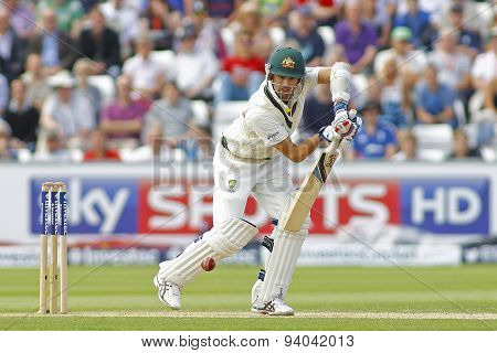 CHESTER LE STREET, ENGLAND - August 11 2013: Nathan Lyon batting during day three of the Investec Ashes 4th test match at The Emirates Riverside Stadium, on August 11, 2013 in London, England.