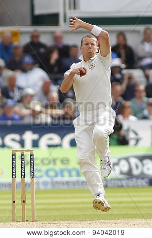 CHESTER LE STREET, ENGLAND - August 11 2013: Peter Siddle bowling during day three of the Investec Ashes 4th test match at The Emirates Riverside Stadium, on August 11, 2013 in London, England.