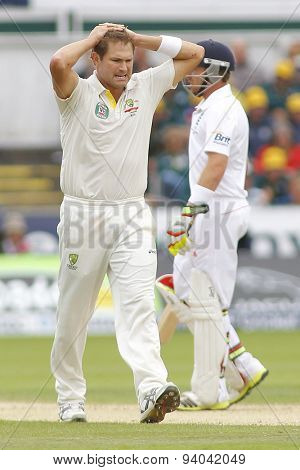 CHESTER LE STREET, ENGLAND - August 11 2013: Ryan Harris reacts during day three of the Investec Ashes 4th test match at The Emirates Riverside Stadium, on August 11, 2013 in London, England.