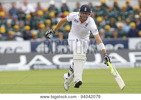 CHESTER LE STREET, ENGLAND - August 11 2013: Kevin Pietersen runs a single during day three of the Investec Ashes 4th test match at The Emirates Riverside Stadium, on August 11