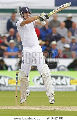 CHESTER LE STREET, ENGLAND - August 11 2013: Kevin Pietersen plays a shot during day three of the Investec Ashes 4th test match at The Emirates Riverside Stadium, on August 11