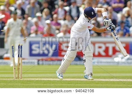 CHESTER LE STREET, ENGLAND - August 11 2013: Joe Root is bowled out by Ryan Harris (not pictured) during day three of the Investec Ashes 4th test match at The Emirates Riverside Stadium