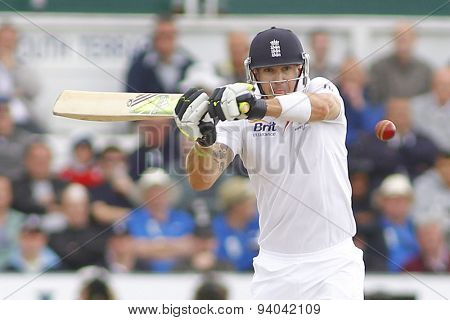 CHESTER LE STREET, ENGLAND - August 11 2013: Kevin Pietersen plays a shot during day three of the Investec Ashes 4th test match at The Emirates Riverside Stadium, on August 11, 2013