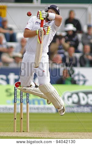 CHESTER LE STREET, ENGLAND - August 11 2013: Ian Bell gets hit by a bouncer during day three of the Investec Ashes 4th test match at The Emirates Riverside Stadium, on August 11, 2013