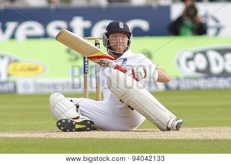 CHESTER LE STREET, ENGLAND - August 11 2013: Ian Bell gets hit by a bouncer and nearly falls onto his stumps during day three of the Investec Ashes 4th test match at The Emirates Riverside Stadium