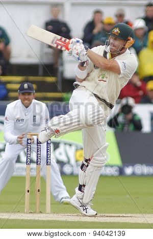 CHESTER LE STREET, ENGLAND - August 12 2013: David Warner plays a shot during day four of the Investec Ashes 4th test match at The Emirates Riverside Stadium, on August 12, 2013 in London, England.
