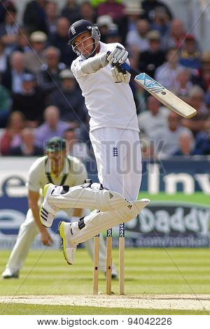 CHESTER LE STREET, ENGLAND - August 12 2013: Stuart Broad hits the ball and is caught out during day four of the Investec Ashes 4th test match at The Emirates Riverside Stadium, on August 12, 2013
