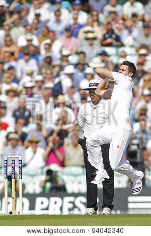 LONDON, ENGLAND - August 21 2013: James Anderson runs in to bowl during day one of the 5th Investec Ashes cricket match between England and Australia played at The Kia Oval Cricket Ground