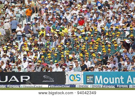 LONDON, ENGLAND - August 21 2013: Australia's fans during day one of the 5th Investec Ashes cricket match between England and Australia played at The Kia Oval Cricket Ground on August 21, 2013