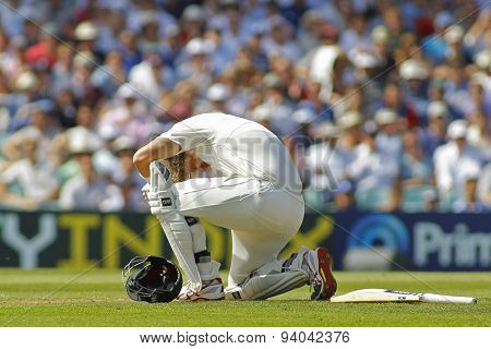 LONDON, ENGLAND - August 21 2013: Shane Watson reacts after being hit on the head during day one of the 5th Investec Ashes cricket match between England and Australia