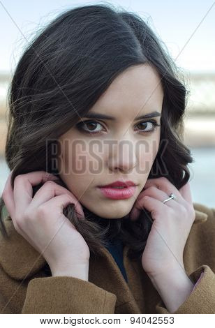 Potrait Of The Beautifu Fashionable Girl Outdoor