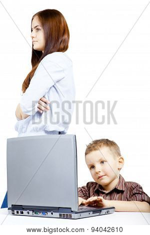 Brother and sister in conflict due to laptop